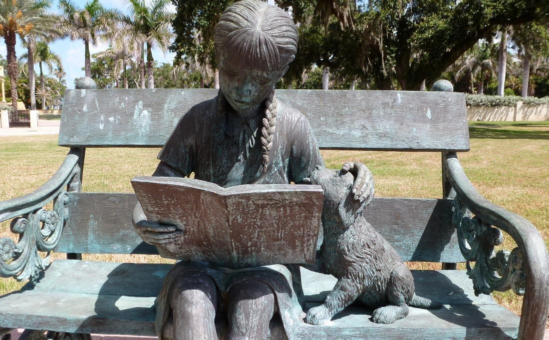 Bronze Garden Sculpture Girl on Bench With Dog - 4