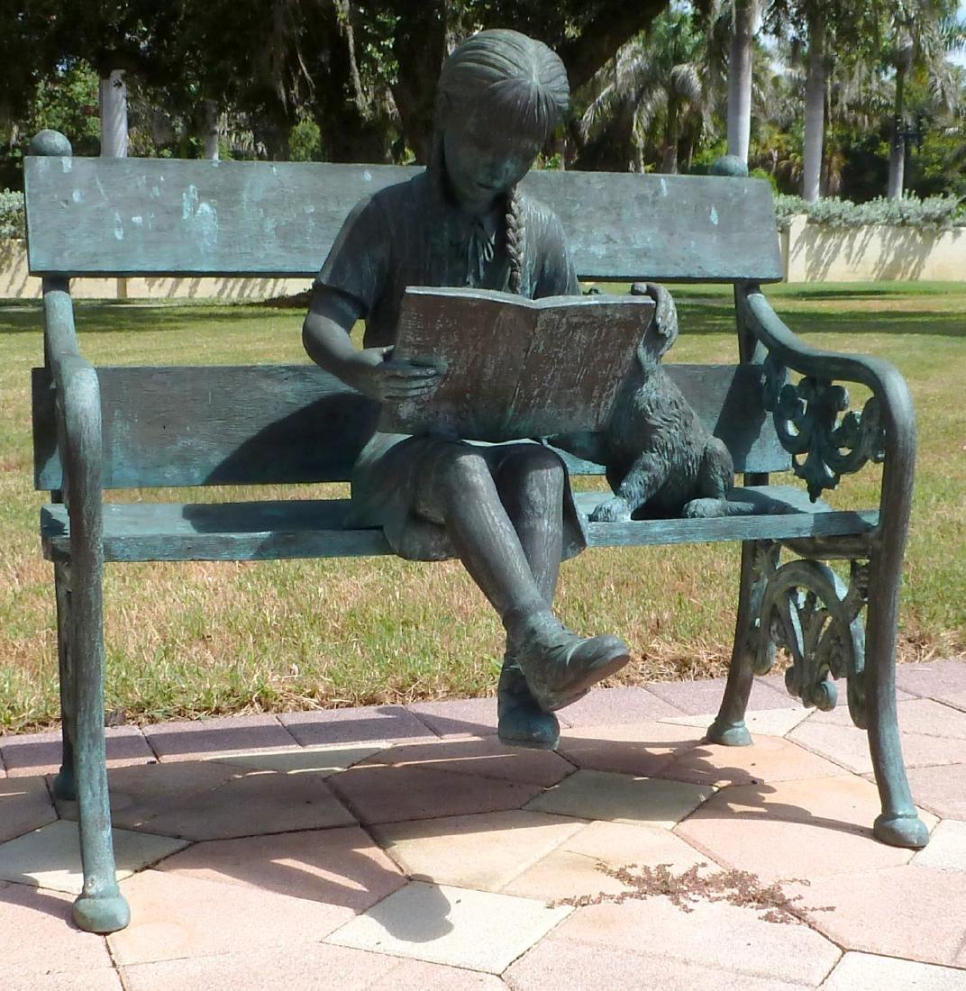 Bronze Garden Sculpture Girl on Bench With Dog - 5