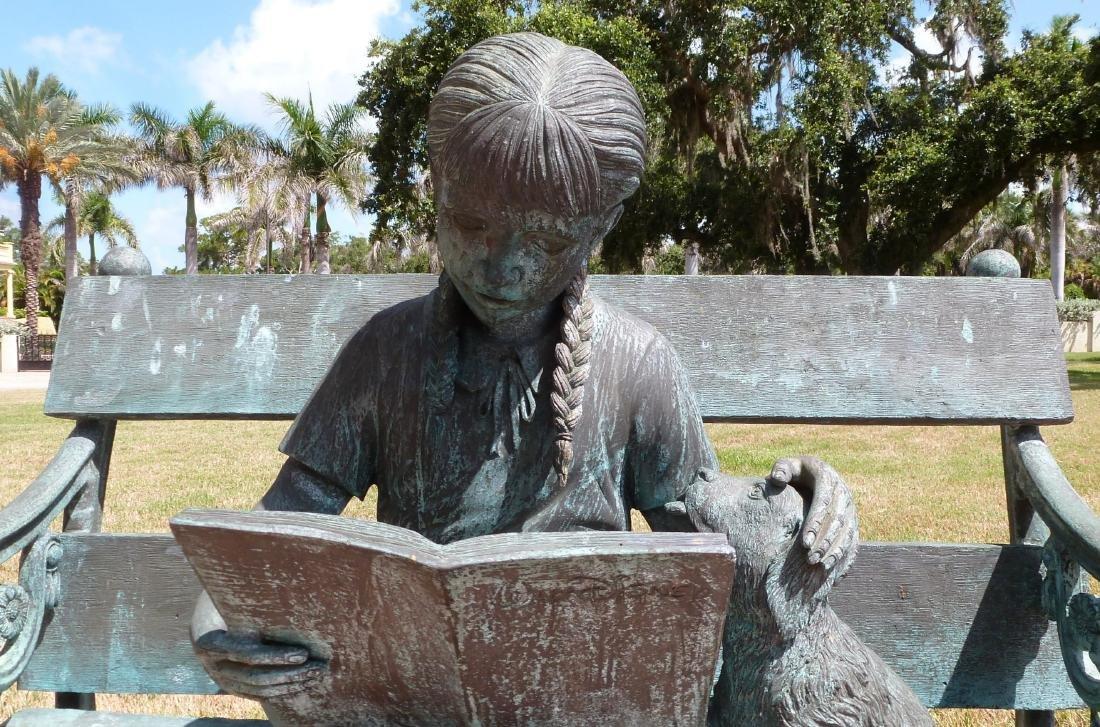 Bronze Garden Sculpture Girl on Bench With Dog - 6