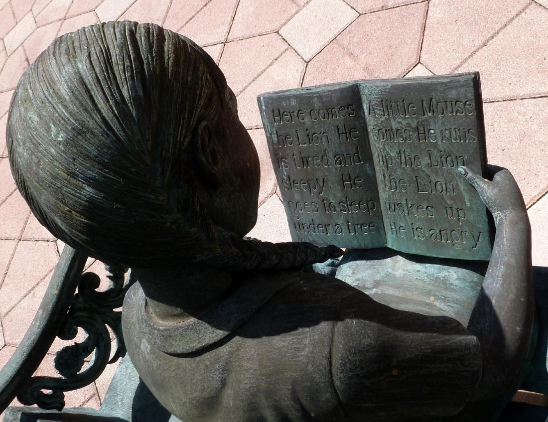 Bronze Garden Sculpture Girl on Bench With Dog - 9