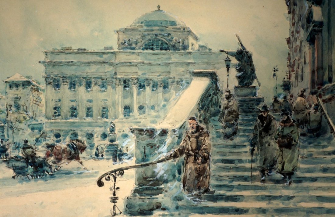 Wladyslaw Chmielinski Winter In Warsaw Painting - 2