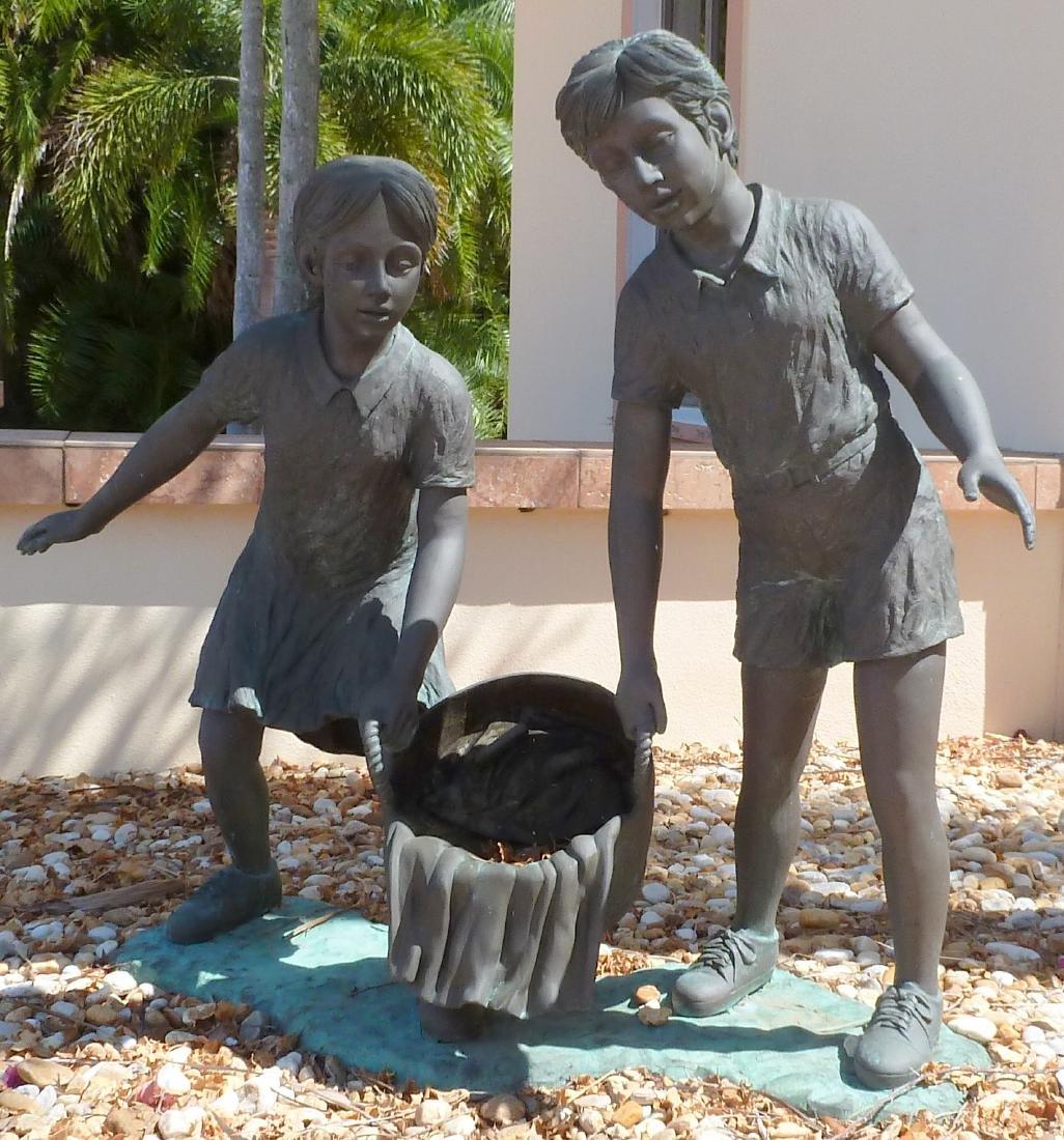 Bronze Garden Sculpture Children with Wash Bucket