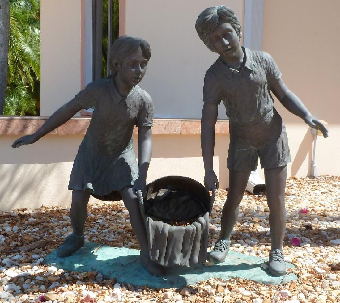 Bronze Garden Sculpture Children with Wash Bucket - 2