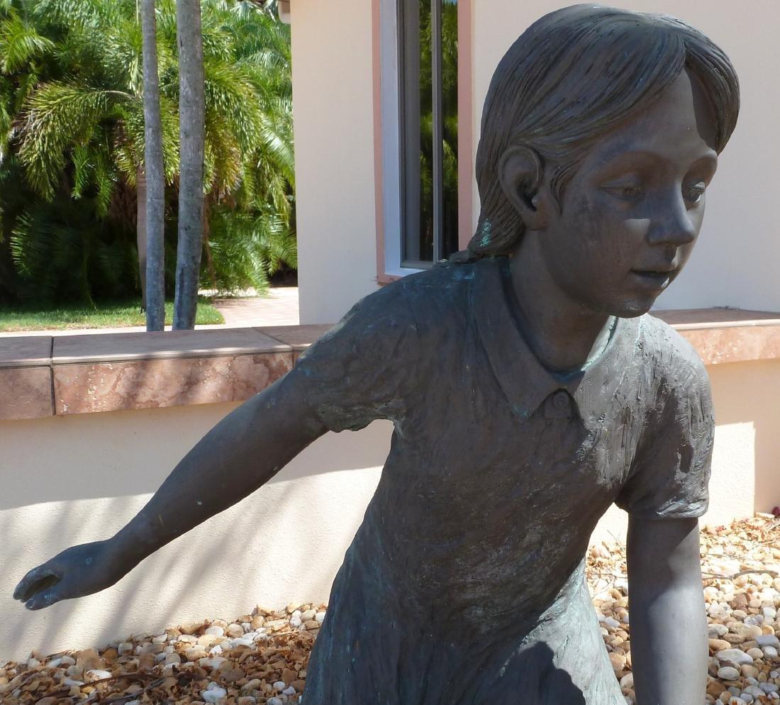 Bronze Garden Sculpture Children with Wash Bucket - 3