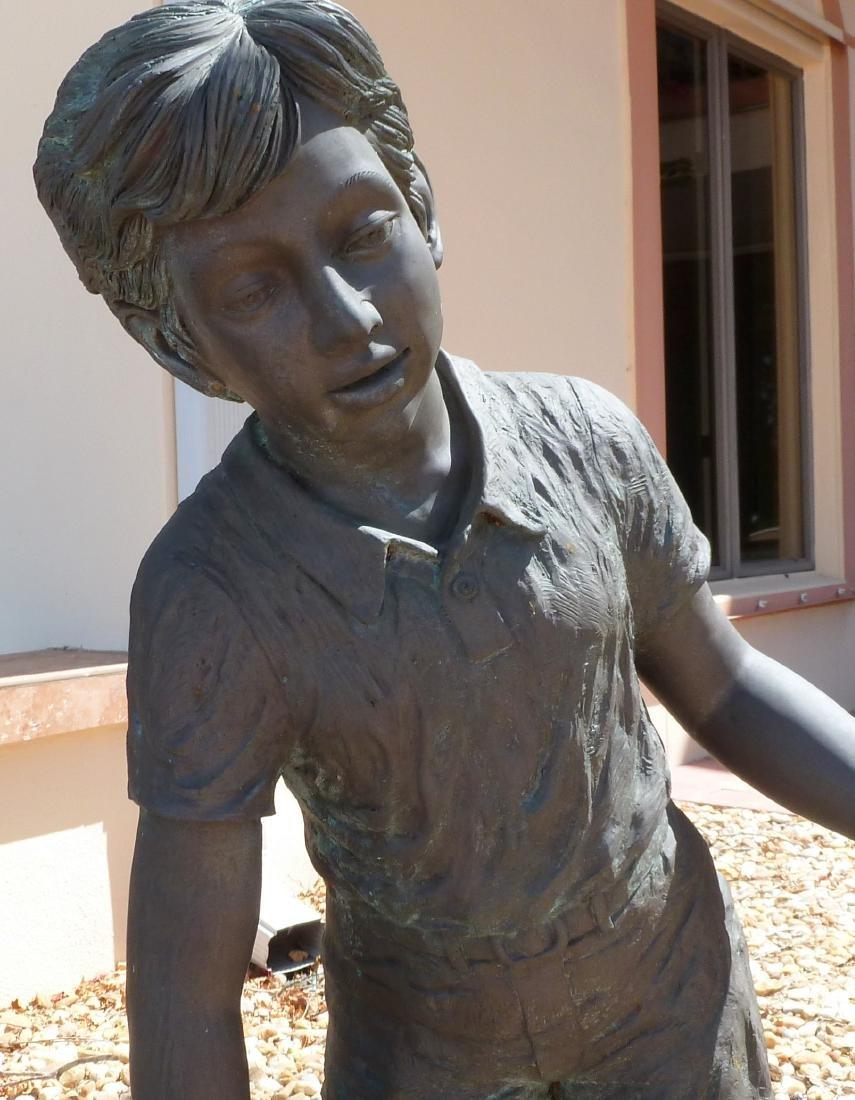 Bronze Garden Sculpture Children with Wash Bucket - 4