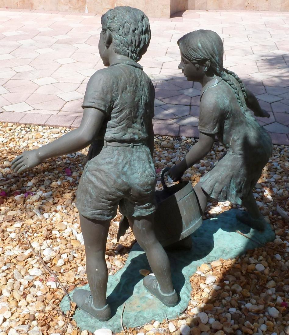 Bronze Garden Sculpture Children with Wash Bucket - 5