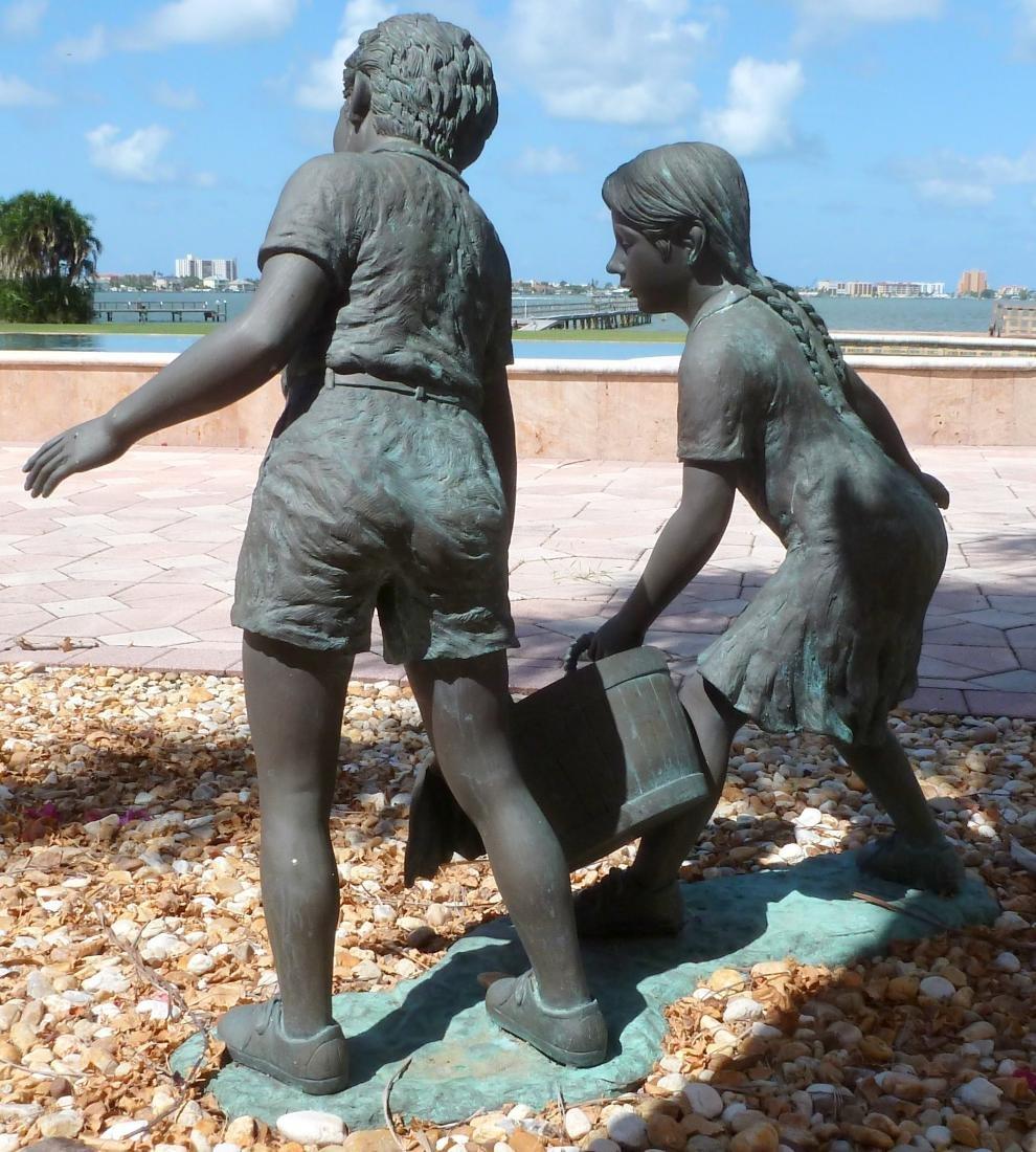 Bronze Garden Sculpture Children with Wash Bucket - 6