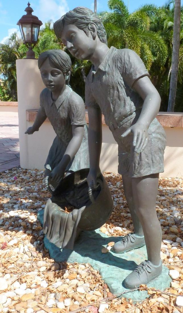 Bronze Garden Sculpture Children with Wash Bucket - 7
