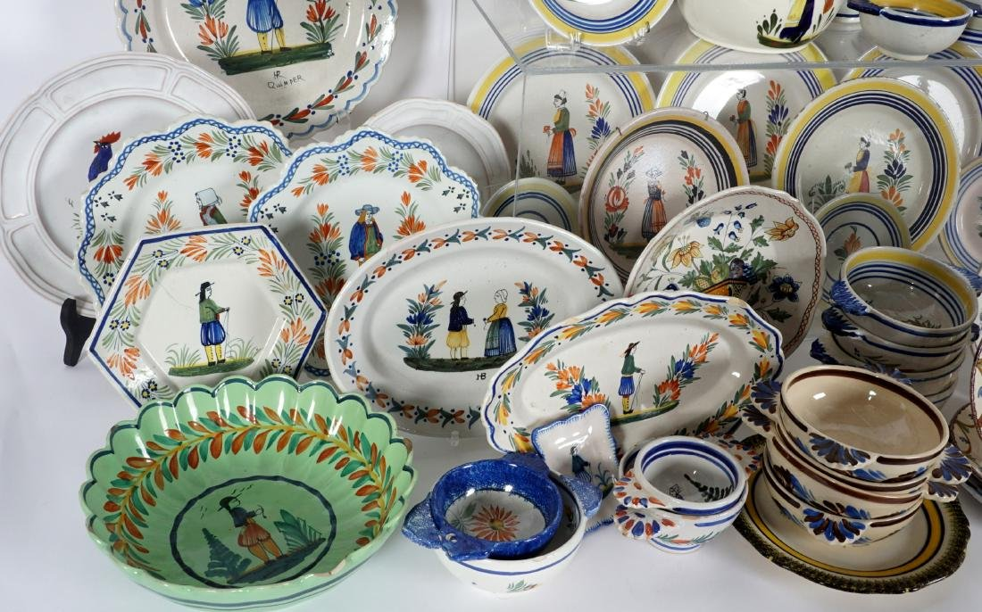 67 pice Quimper Faience Pottery Collection - 9