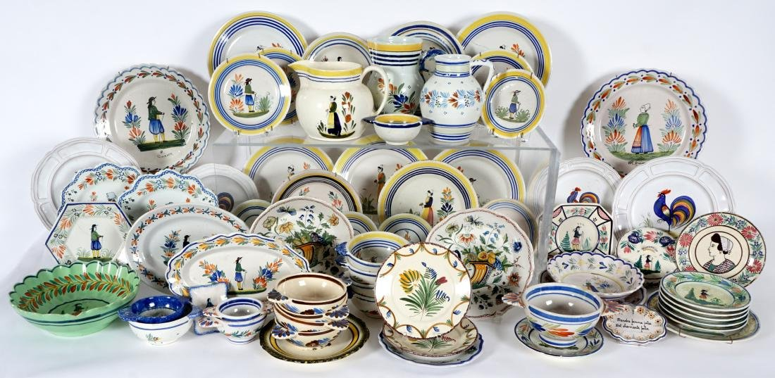 67 pice Quimper Faience Pottery Collection