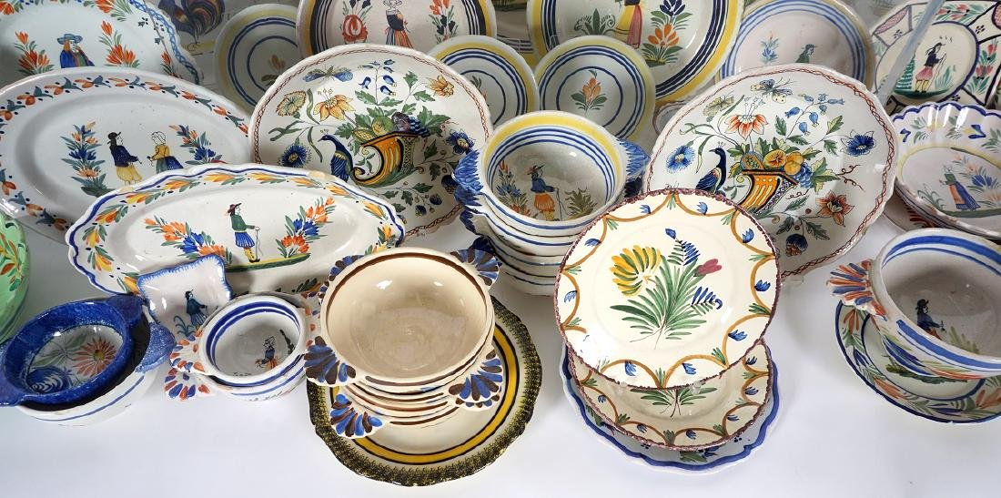67 pice Quimper Faience Pottery Collection - 2