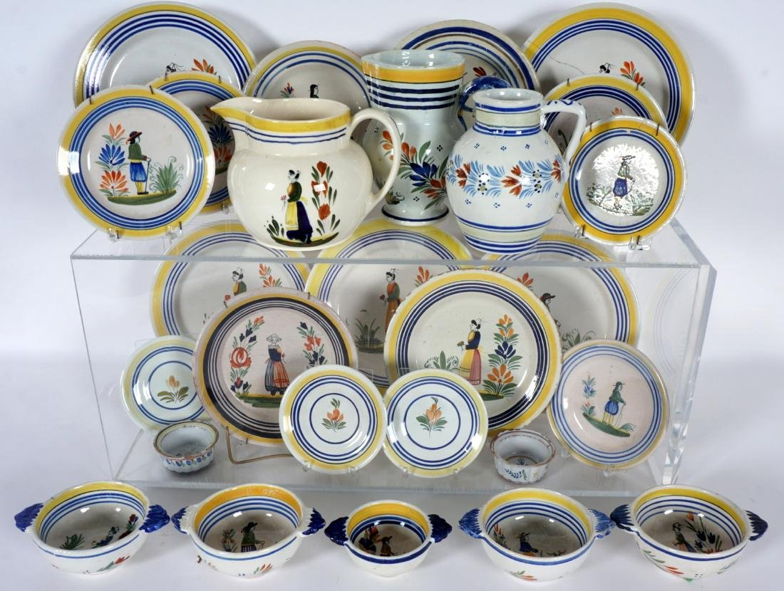 67 pice Quimper Faience Pottery Collection - 3
