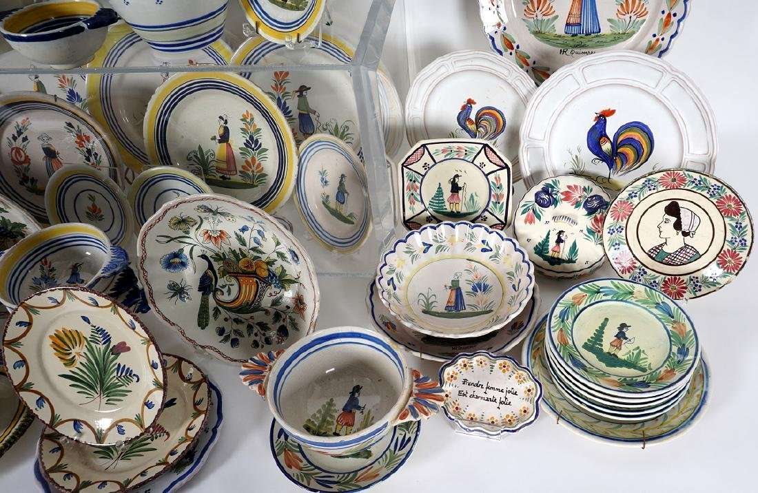 67 pice Quimper Faience Pottery Collection - 4