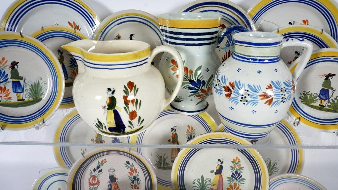 67 pice Quimper Faience Pottery Collection - 5