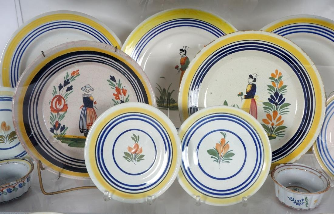 67 pice Quimper Faience Pottery Collection - 6