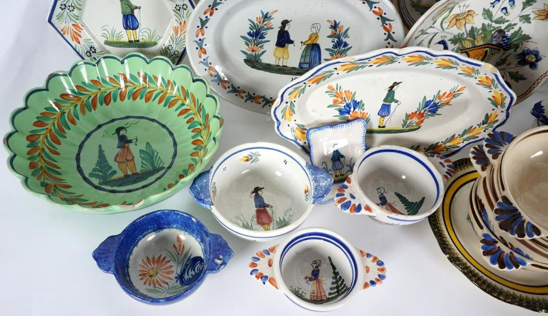 67 pice Quimper Faience Pottery Collection - 7