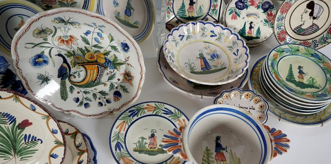67 pice Quimper Faience Pottery Collection - 8
