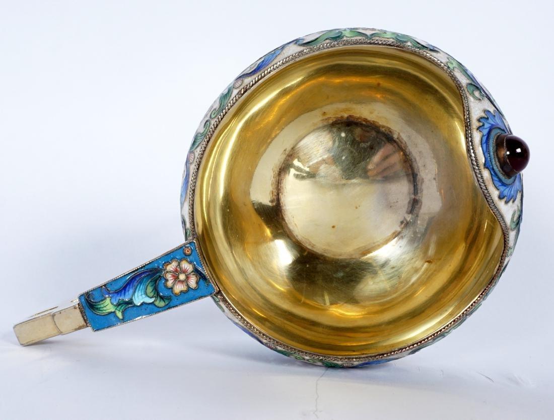 D. Orlov Russian Silver Enameled Kovsh - 6