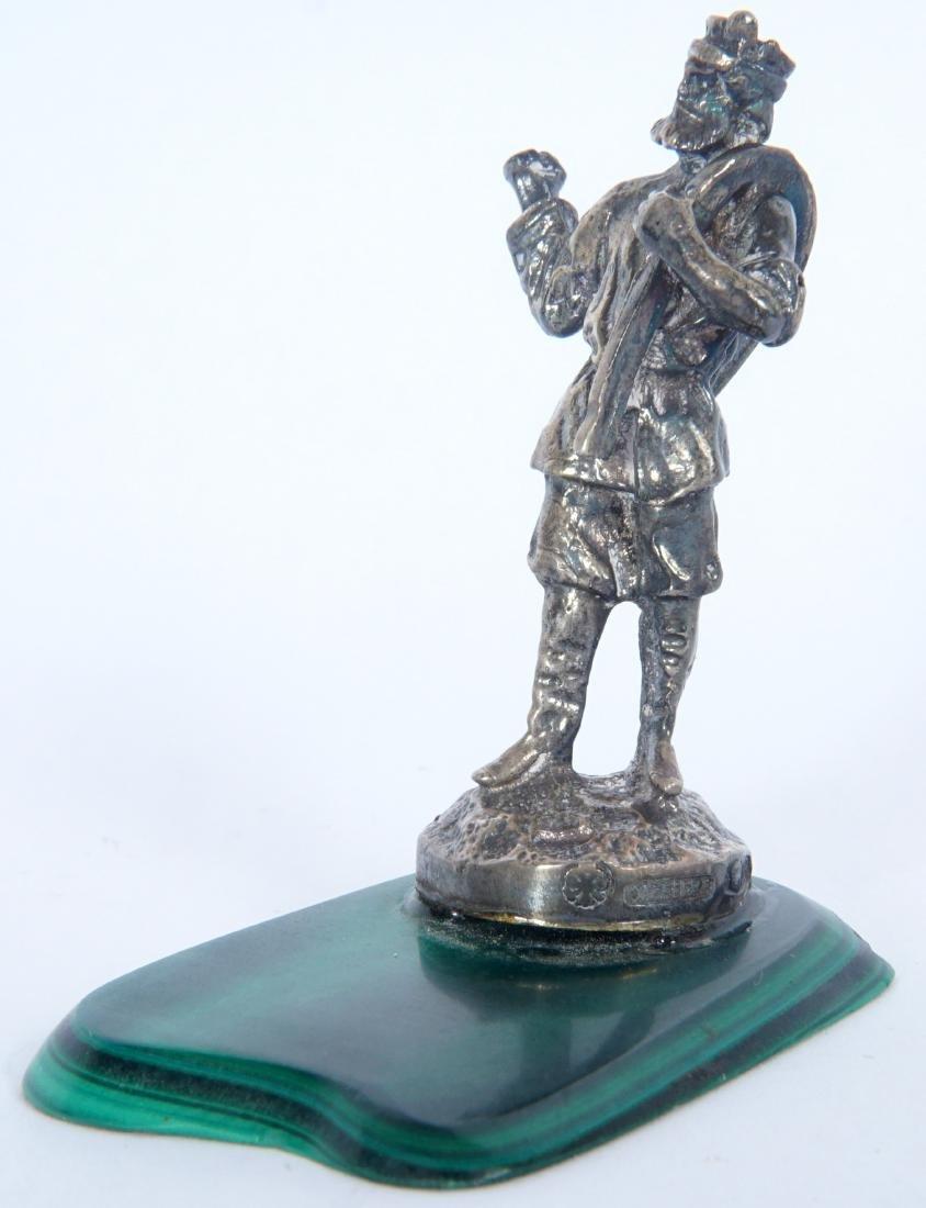 Miniature Russian Silver Statue on Malachite