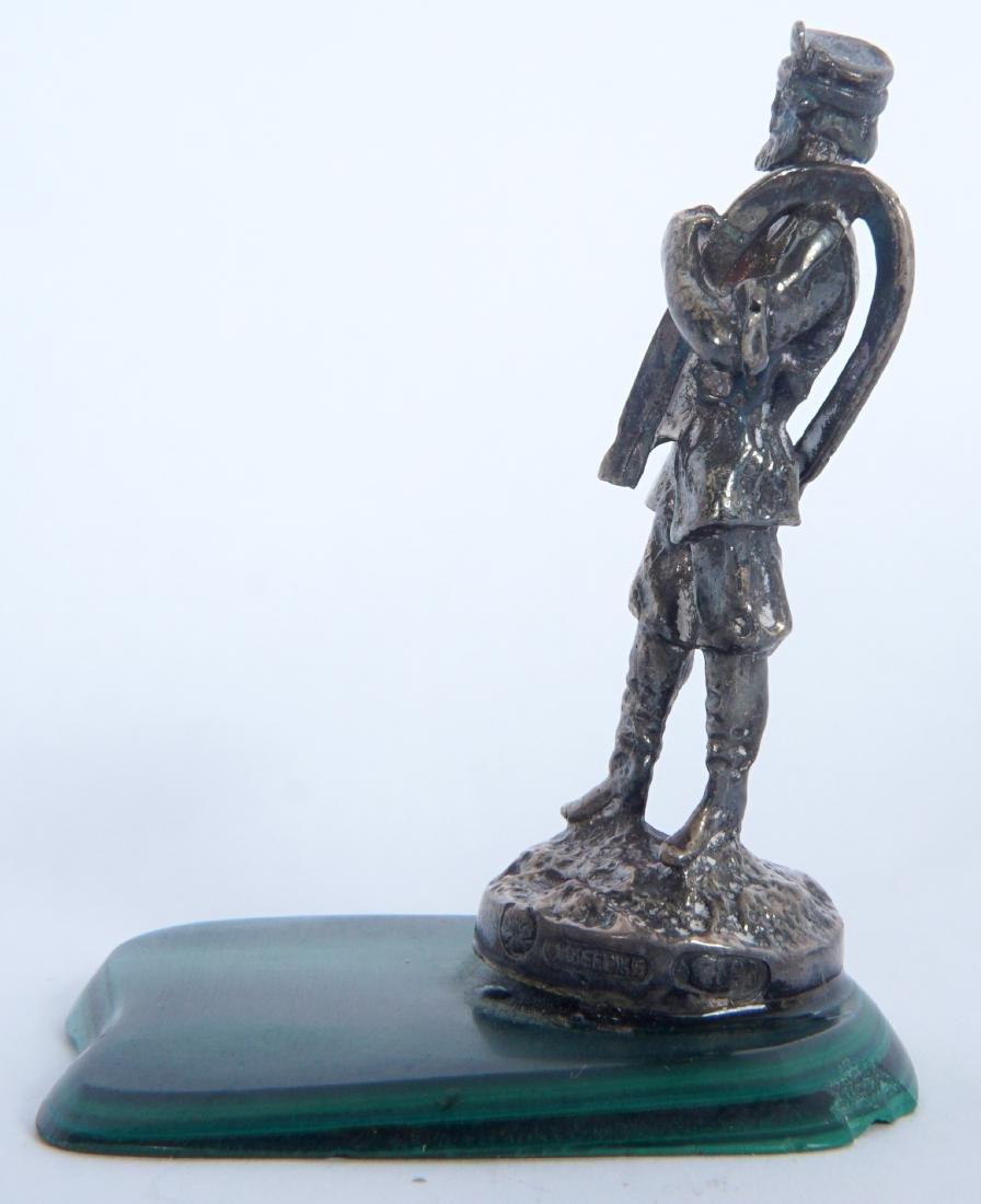 Miniature Russian Silver Statue on Malachite - 2