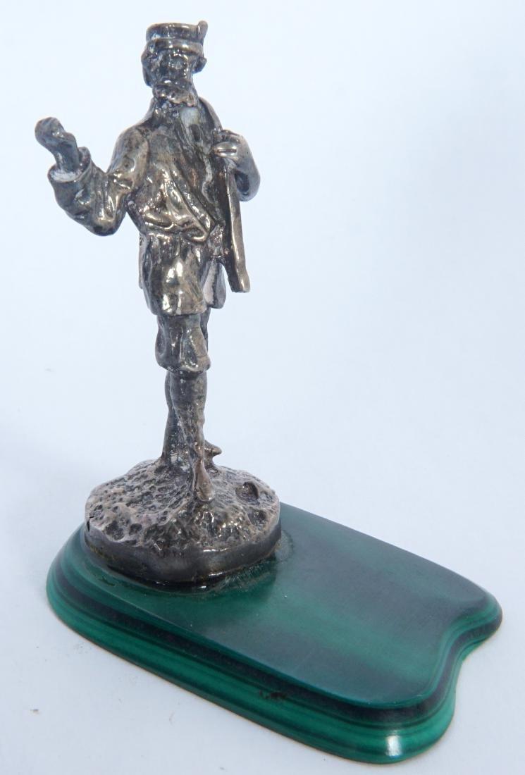 Miniature Russian Silver Statue on Malachite - 3