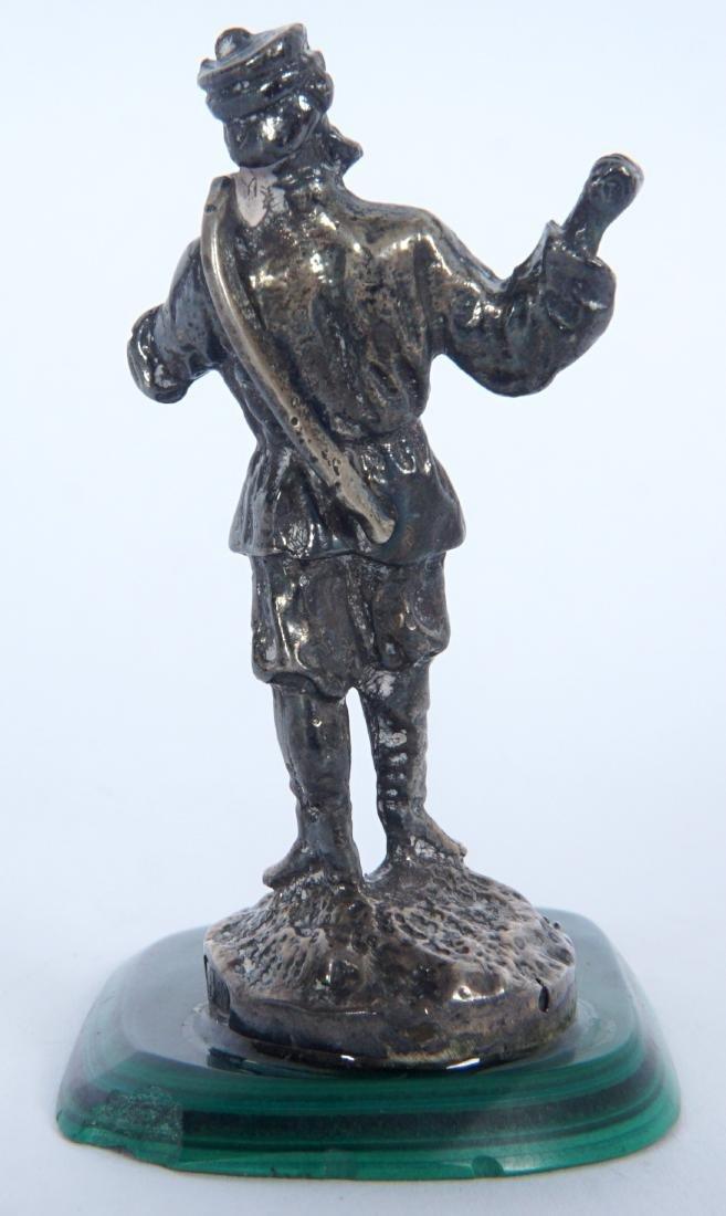 Miniature Russian Silver Statue on Malachite - 5