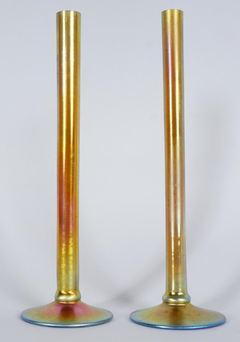 Pair Steuben Aurene Stick Bud Vases - 2