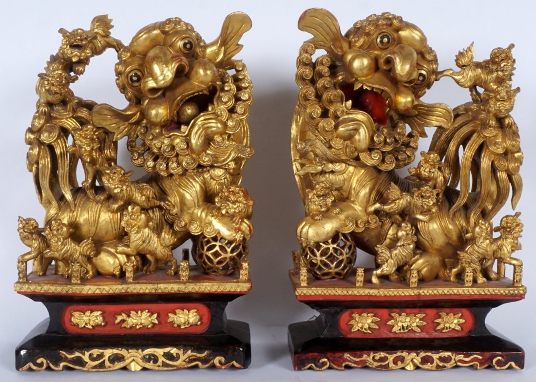 Pair Carved Gilt Decorated Foo Lions