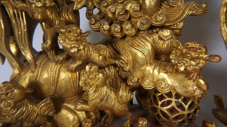 Pair Carved Gilt Decorated Foo Lions - 2