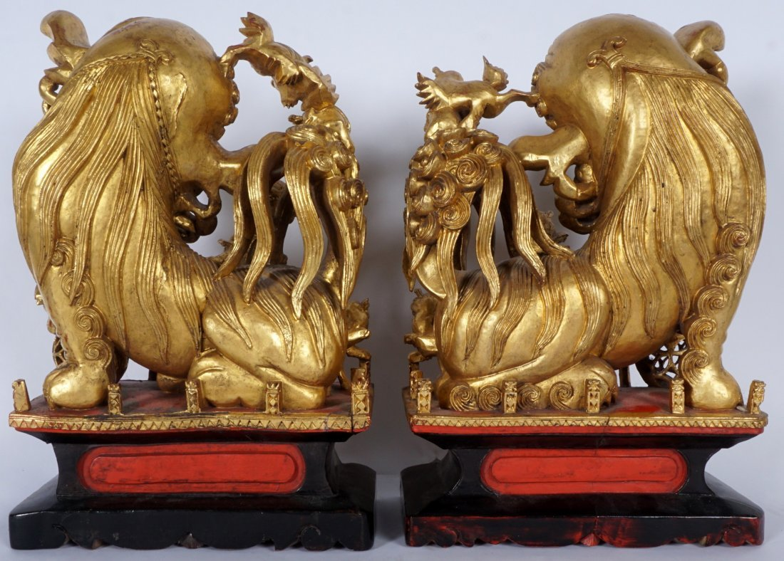Pair Carved Gilt Decorated Foo Lions - 5