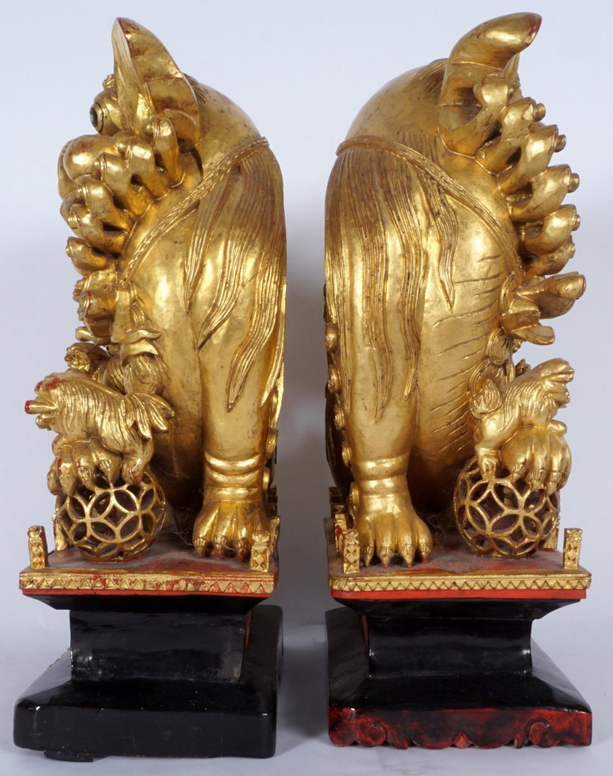 Pair Carved Gilt Decorated Foo Lions - 6