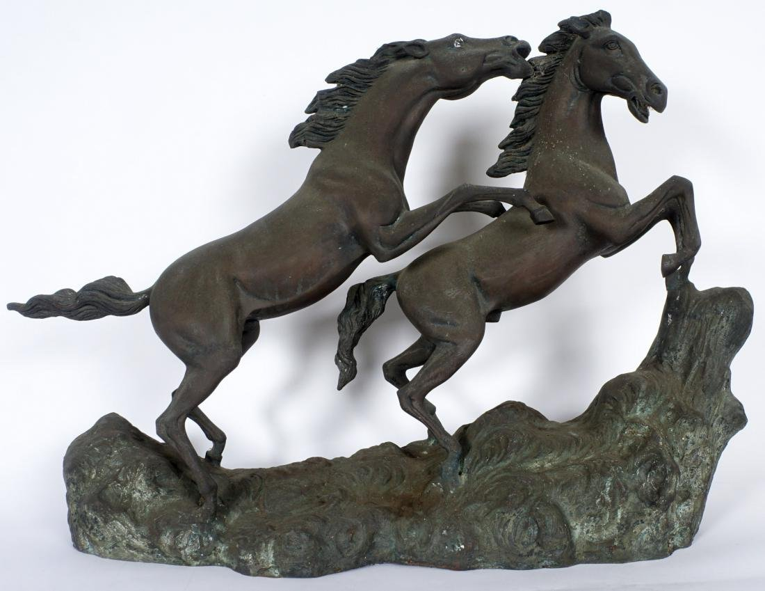 Bronze Bucking Horses Figural Group