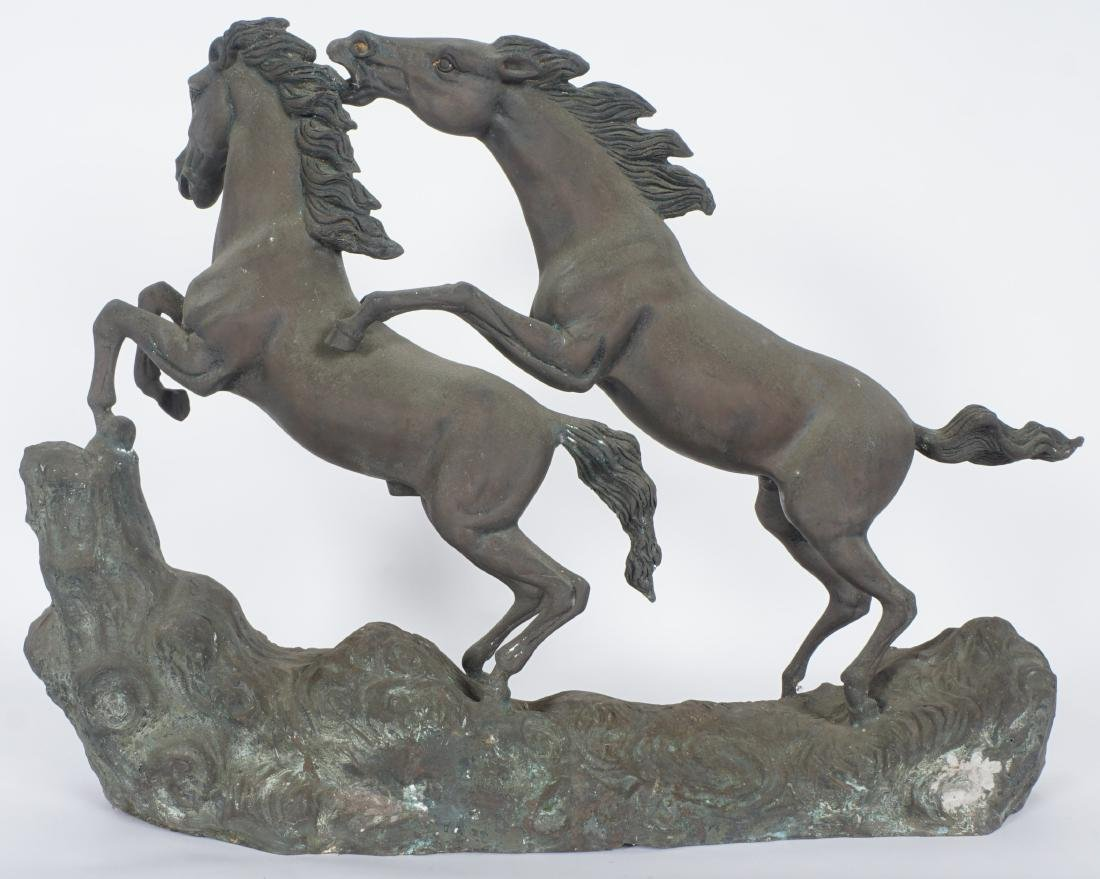 Bronze Bucking Horses Figural Group - 2