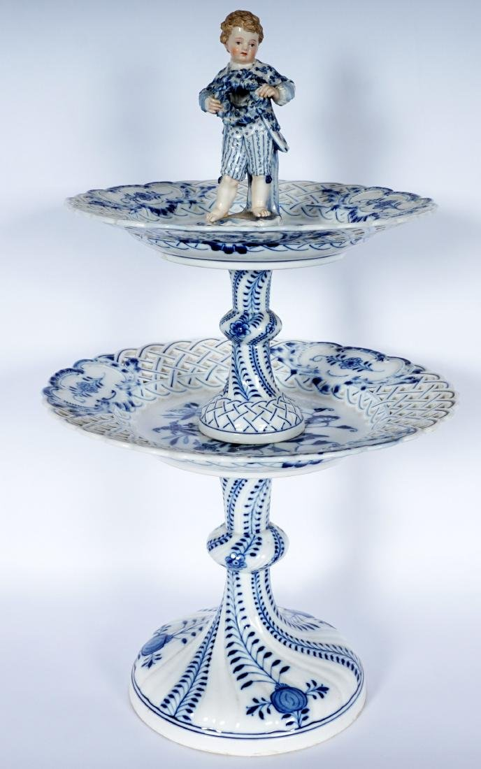 Meissen Blue Onion 2 Tier Dessert Stand