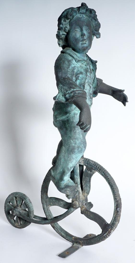 Garden Sculpture Bronze Boy on Bike