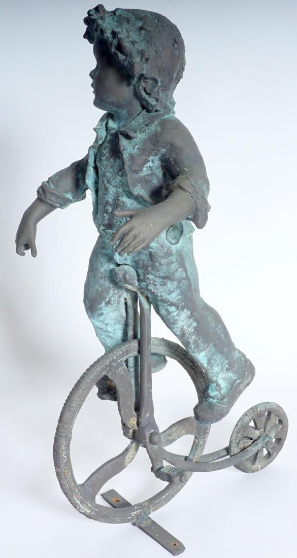 Garden Sculpture Bronze Boy on Bike - 2