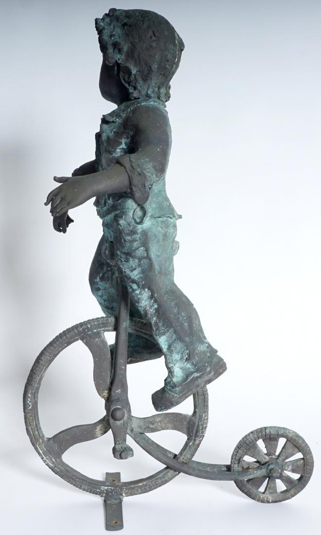 Garden Sculpture Bronze Boy on Bike - 3