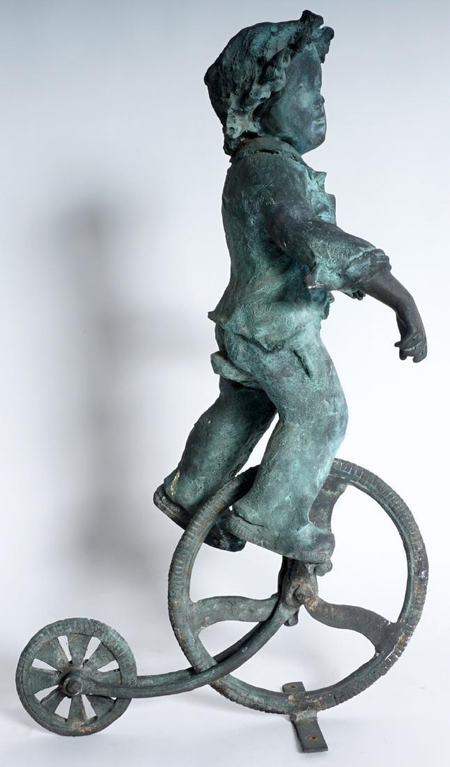 Garden Sculpture Bronze Boy on Bike - 4