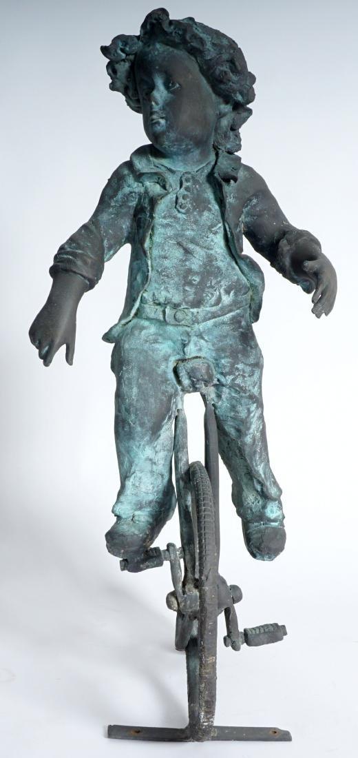 Garden Sculpture Bronze Boy on Bike - 5
