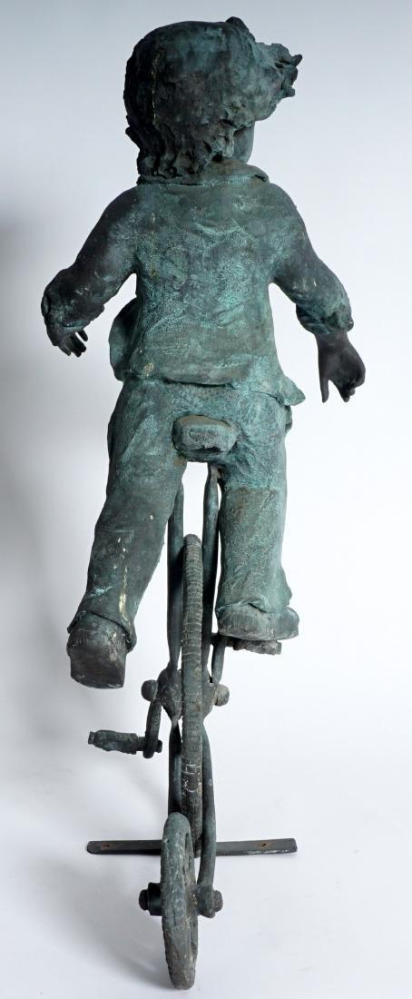 Garden Sculpture Bronze Boy on Bike - 6