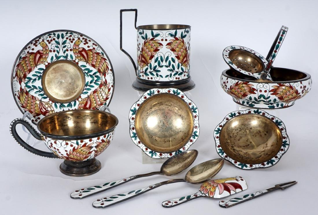 11 Russian Silver Enamel Tea Pieces