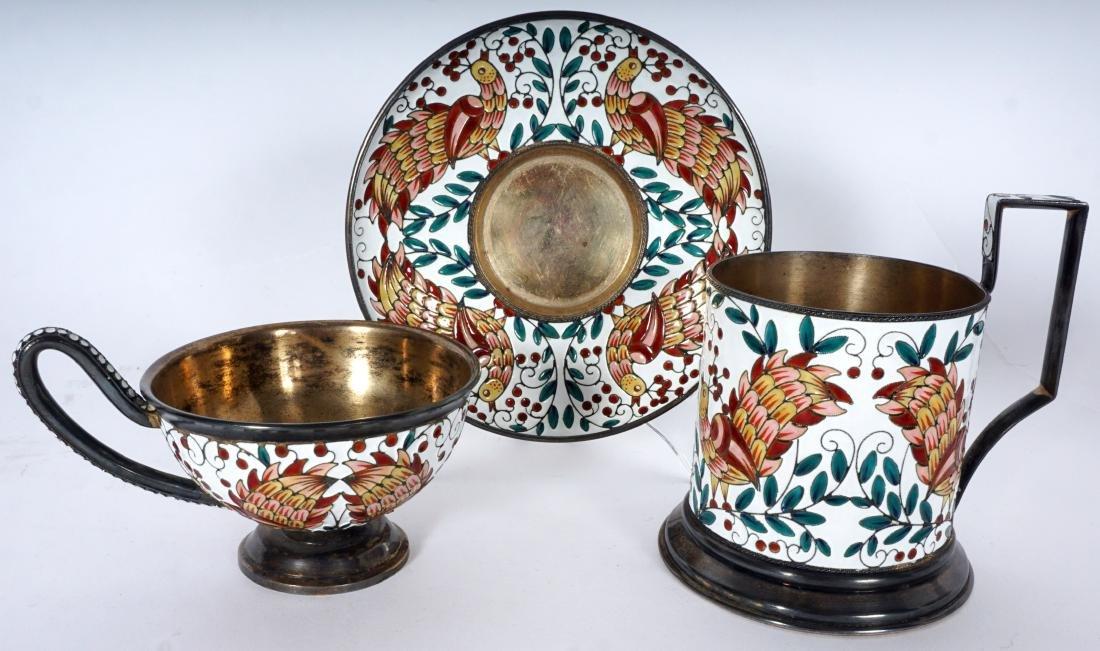 11 Russian Silver Enamel Tea Pieces - 2