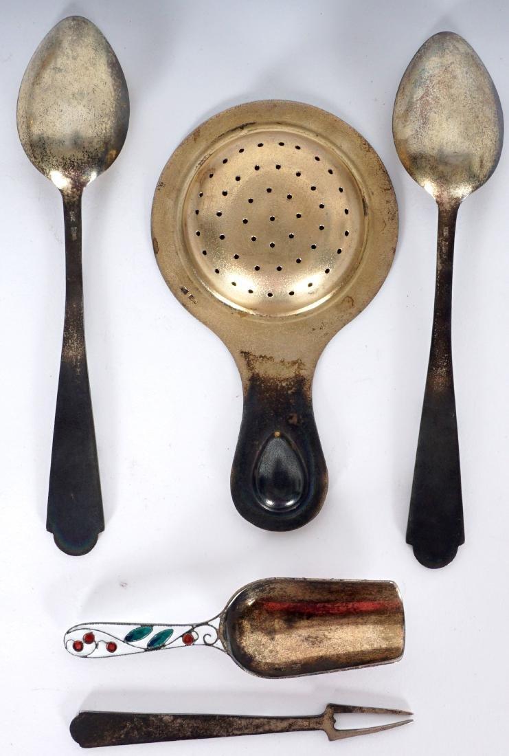 11 Russian Silver Enamel Tea Pieces - 5
