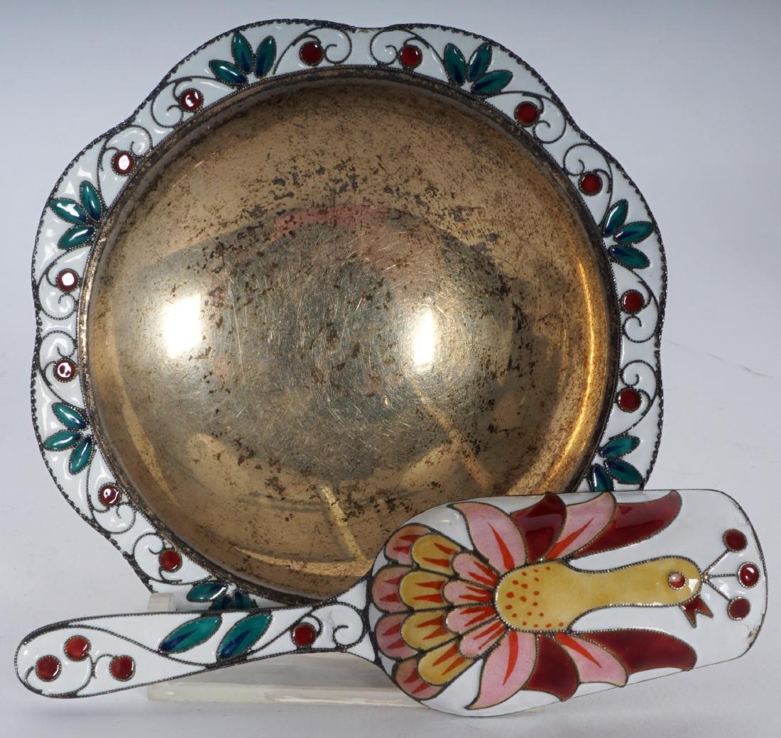 11 Russian Silver Enamel Tea Pieces - 6