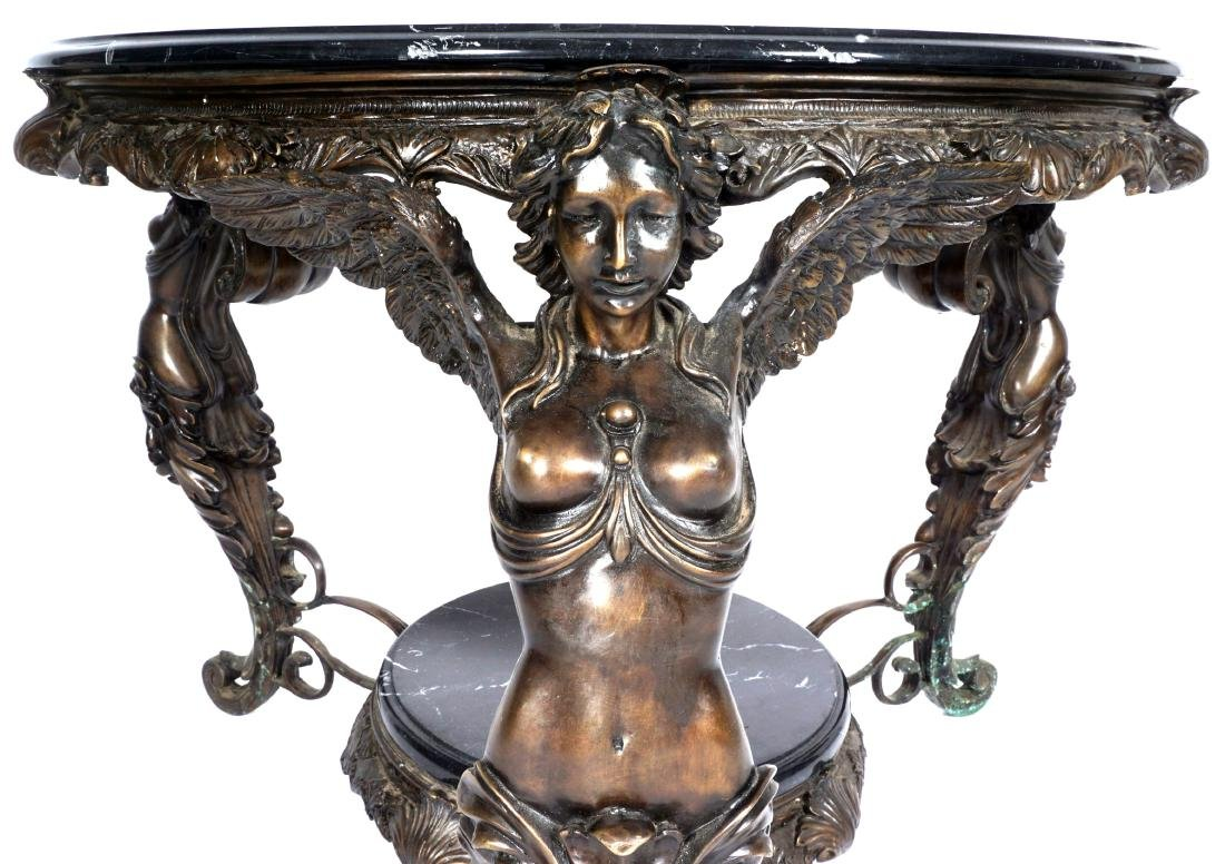 Marble Top Bronze Figural Angel Table - 10