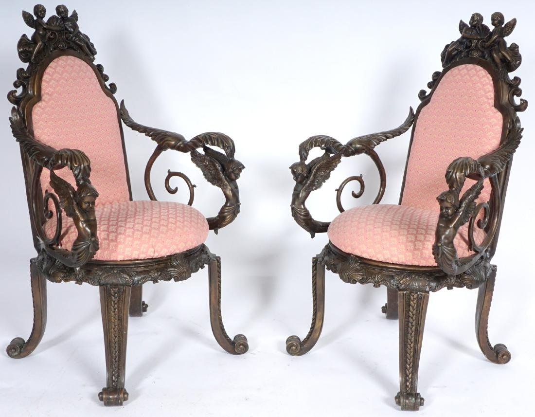 Pair Bronze Figural Cherub Arm Chairs