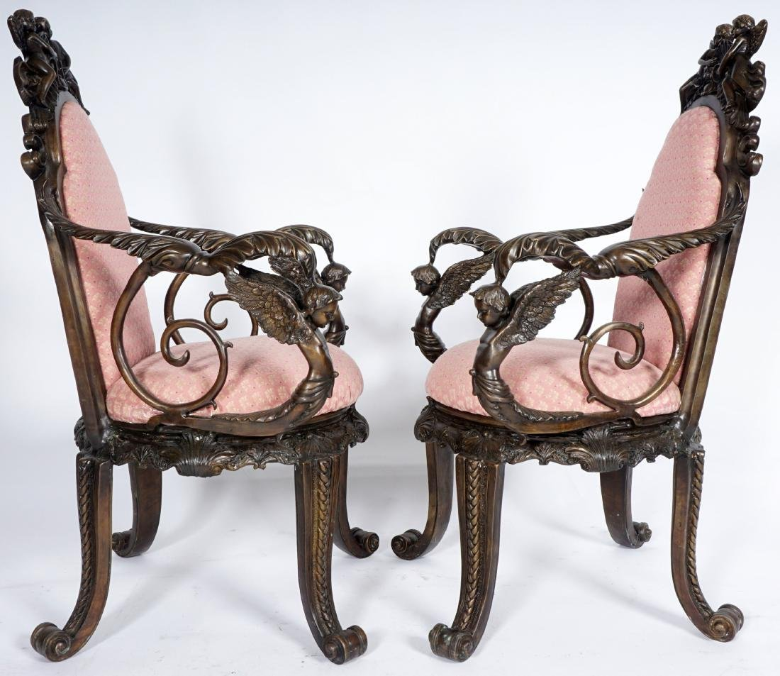 Pair Bronze Figural Cherub Arm Chairs - 2