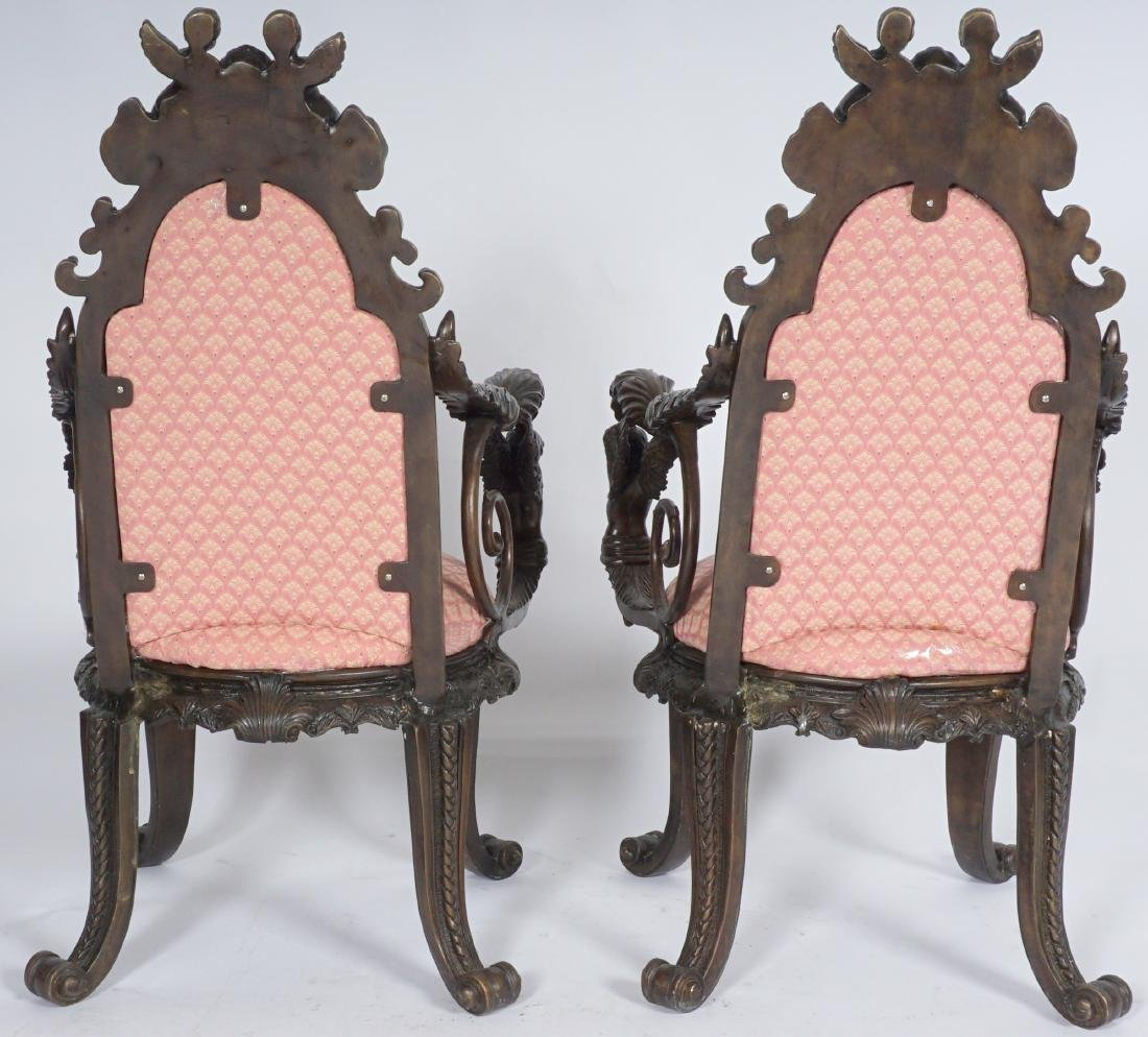 Pair Bronze Figural Cherub Arm Chairs - 3