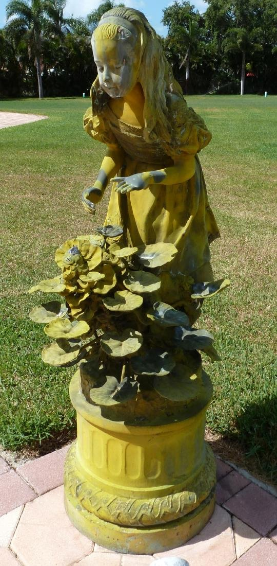 Large Bronze Garden Statue Girl With Plant - 6