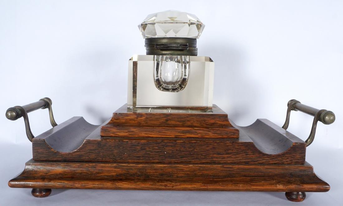 Victorian Oak Inkwell - 2